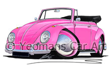 Load image into Gallery viewer, Volkswagen Beetle Cabriolet - Caricature Car Art Print