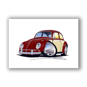 VW Beetle (2-Tone) - Caricature Car Art Print
