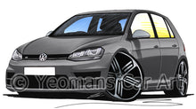Load image into Gallery viewer, Volkswagen Golf (Mk7) R (5dr) - Caricature Car Art Print