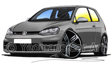 Load image into Gallery viewer, Volkswagen Golf (Mk7) R (3dr) - Caricature Car Art Print