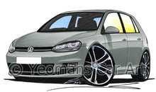 Load image into Gallery viewer, Volkswagen Golf (Mk7) (5dr) - Caricature Car Art Print