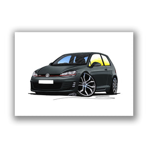 Volkswagen Golf (Mk7) GTi (3dr) - Caricature Car Art Print