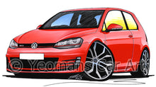 Load image into Gallery viewer, Volkswagen Golf (Mk7) GTi (3dr) - Caricature Car Art Print