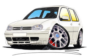 Volkswagen Golf (Mk4) GTi (5dr) - Caricature Car Art Print