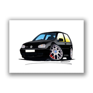 Volkswagen Golf (Mk4) GTi (3dr) - Caricature Car Art Print