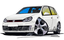 Load image into Gallery viewer, Volkswagen Golf (Mk6) GTi (5dr) - Caricature Car Art Print