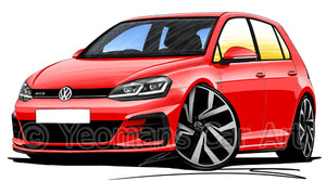 Volkswagen Golf (Mk7.5) GTD (5dr) - Caricature Car Art Print