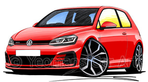 Volkswagen Golf (Mk7.5) GTi (3dr) - Caricature Car Art Print