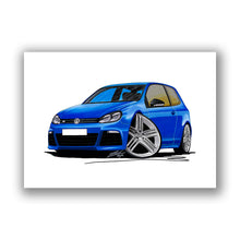 Load image into Gallery viewer, Volkswagen Golf (Mk6) R (3dr) - Caricature Car Art Print