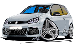 Volkswagen Golf (Mk6) R (3dr) - Caricature Car Art Print