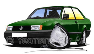 Volkswagen Polo (Mk2)(Facelift) Saloon - Caricature Car Art Coffee Mug