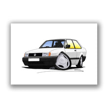 Load image into Gallery viewer, Volkswagen Polo (Mk2)(Facelift) Saloon - Caricature Car Art Print