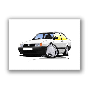 Volkswagen Polo (Mk2)(Facelift) Saloon - Caricature Car Art Print