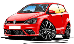 Volkswagen Polo (Mk5)(Facelift)(6C) GTi - Caricature Car Art Print