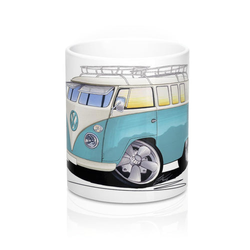 VW Split-Screen (11C) Camper Van - Caricature Car Art Coffee Mug