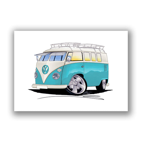 VW Split-Screen (11C) Camper Van - Caricature Car Art Print