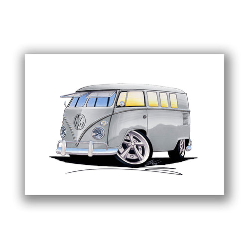 VW Split-Screen (11D) Camper Van - Caricature Car Art Print