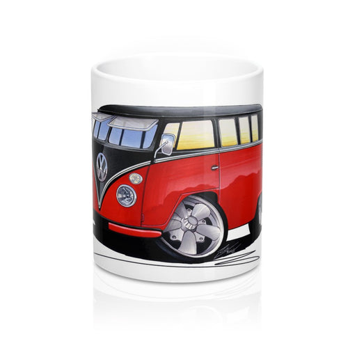VW Split-Screen (11E) Camper Van - Caricature Car Art Coffee Mug