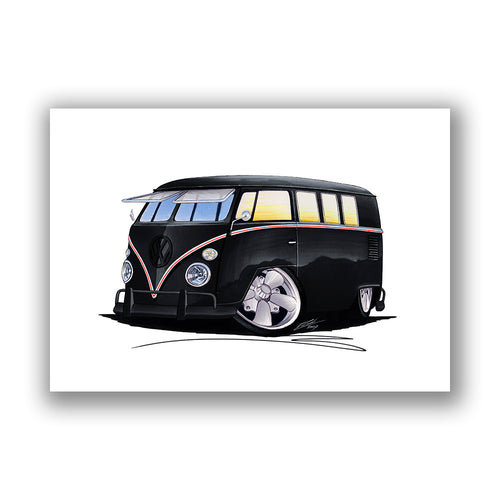 VW Split-Screen (11F) Camper Van - Caricature Car Art Print
