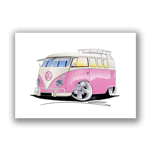 VW Split-Screen (11G) Camper Van - Caricature Car Art Print