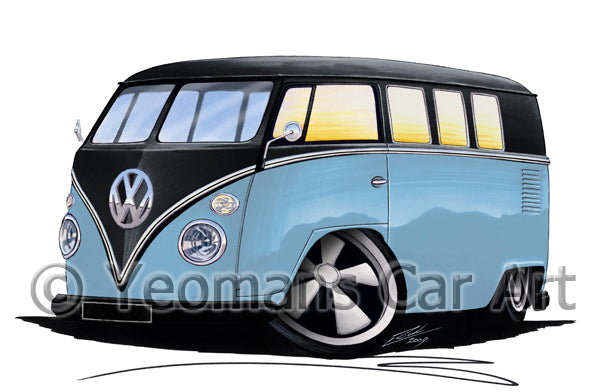 VW Split-Screen (11H) Camper Van - Caricature Car Art Print