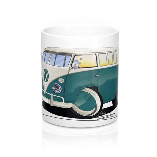 VW Split-Screen (11-Window) Camper Van - Caricature Car Art Coffee Mug