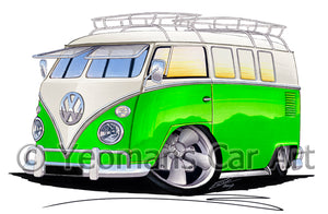 VW Split-Screen (11K) Camper Van - Caricature Car Art Print
