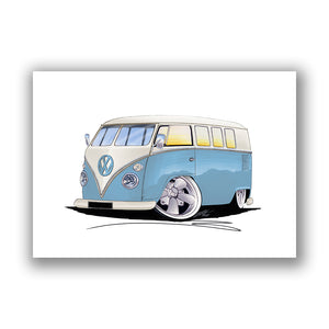 VW Split-Screen (11M) Camper Van - Caricature Car Art Print