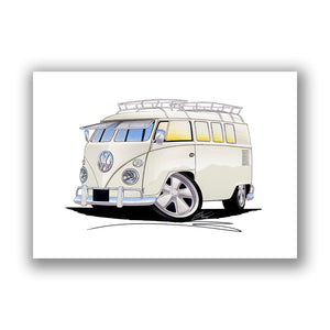 VW Split-Screen (11N) Camper Van - Caricature Car Art Print