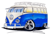Load image into Gallery viewer, VW Split-Screen (15A) Camper Van - Caricature Car Art Print