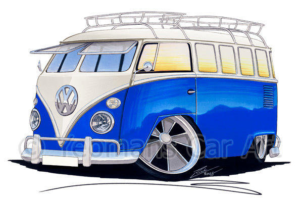 VW Split-Screen (15A) Camper Van - Caricature Car Art Print