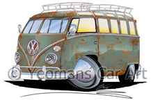 Load image into Gallery viewer, VW Split-Screen (23D) Camper Van - Caricature Car Art Print