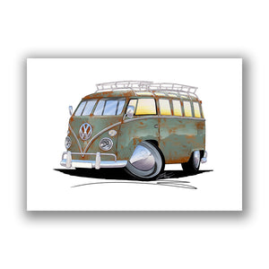 VW Split-Screen (23D) Camper Van - Caricature Car Art Print