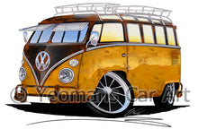 Load image into Gallery viewer, VW Split-Screen (23E) Camper Van - Caricature Car Art Print