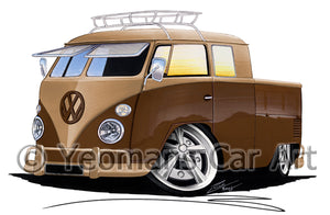 VW Split-Screen Crew Cab Pick-Up (Yeo-B) - Caricature Car Art Print