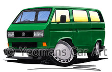 Load image into Gallery viewer, VW T3 / T25 Camper Van (Square Headlights) - Caricature Car Art Print