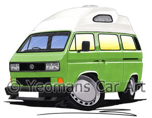 VW T3 / T25 High Top Camper Van (Square Headlights) - Caricature Car Art Coffee Mug