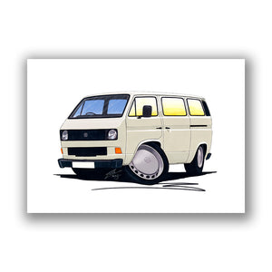 VW T3 / T25 Camper Van - Caricature Car Art Print