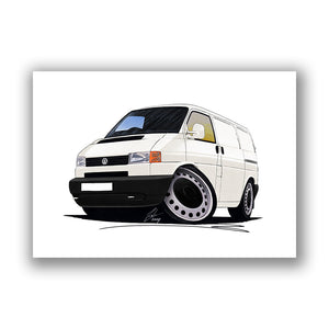 VW T4 Transporter Van (Grey Bumper) - Caricature Car Art Print