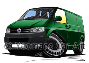 VW T5 (Facelift) Transporter Van (Grey Bumper) - Caricature Car Art Print
