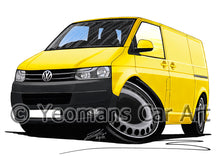 Load image into Gallery viewer, VW T5 (Facelift) Transporter Van (Grey Bumper) - Caricature Car Art Print