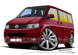 VW T5 (Facelift) California Camper Van - Caricature Car Art Print