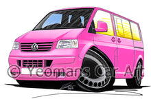Load image into Gallery viewer, VW T5 Camper Van - Caricature Car Art Print