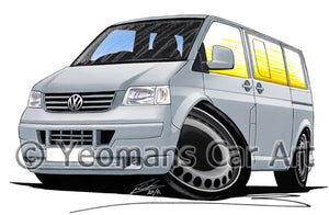VW T5 Camper Van - Caricature Car Art Print