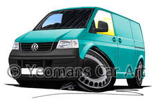 Load image into Gallery viewer, VW T5 Transporter Van (Grey Bumper) - Caricature Car Art Print