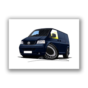 VW T5 Transporter Van - Caricature Car Art Print