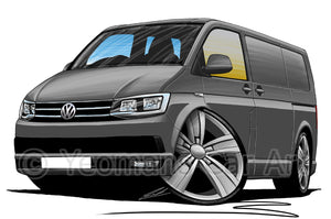 VW T6 Transporter Van - Caricature Car Art Print
