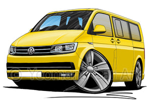 VW T6 Camper Van - Caricature Car Art Print