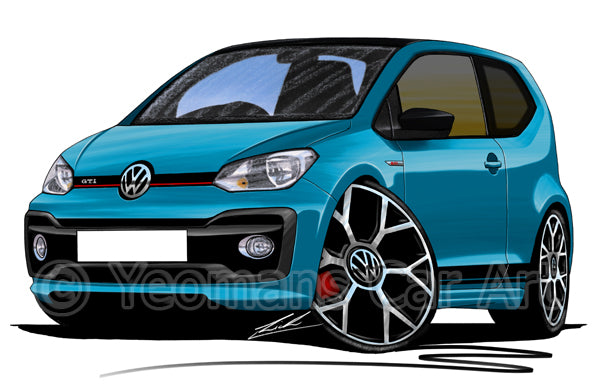 Volkswagen Up! GTi - Caricature Car Art Print