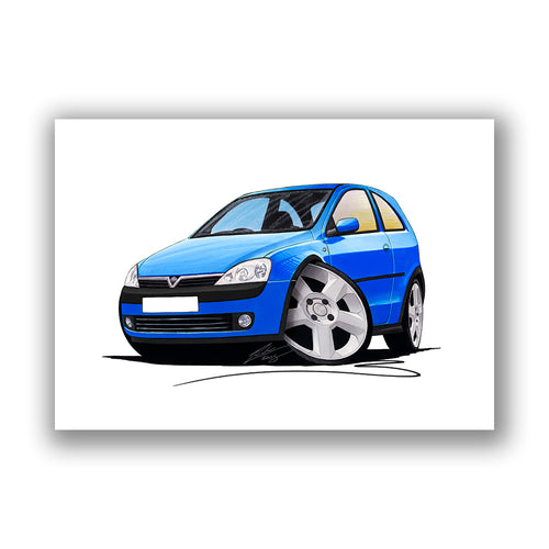 Vauxhall Corsa C SRi - Caricature Car Art Print